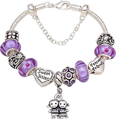 """""""Sweet Sister Forever Friend"""" Love Heart Bead Charm Bracelet For Christmas New Year Birthday Gift"""