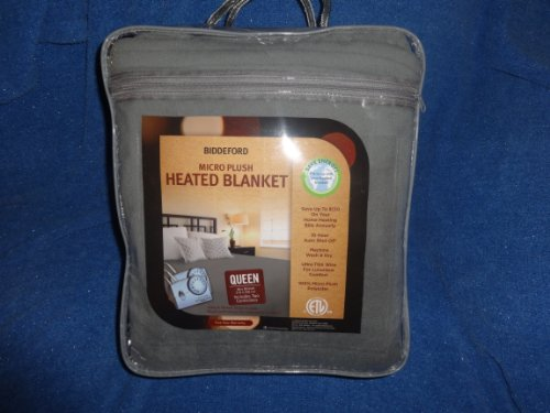 Best Price Biddeford Micro Plush Heated Blanket Queen Size Taupe