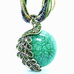 Image® Europe & Amérique du style avec le collier de l'oeil de paon Retro Bohême phénix chat (Vert)