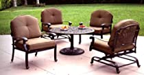 Hot Sale Heritage Outdoor Living Elisabeth Cast Aluminum 5pc Outdoor Spring Club Chair Set - Antique Bronze