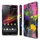MPERO SNAPZ Series Glossy Case for Sony Xperia Z - Black Paint Splatter