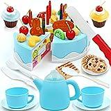 Yonala Play Food Set Kids Gift Birthday Cake with Cutting Knife, Tea Pot and Cups