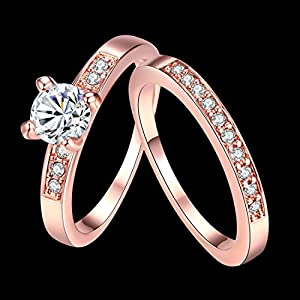 [Eternity Love] Women's Pretty 18K Rose Gold Plated Solitaire CZ Crystal Engagement Rings Set Best Promise Rings for Her Anniversary Wedding Bands TIVANI Collection Jewelry Rings by TIVANI