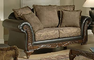 Chelsea Home Furniture Serta Ronalynn Love Seat, Base Upholstered in San Marino Chocolate Poly Cotton Blend