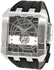 RSW Men's 7110.MS.V1.1.00 Crossroads Square Black Automatic Leather Watch