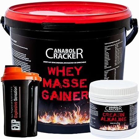 Whey Masse Gainer, Eiweißpulver, 3000g Eimer, Erdbeere, Toffi oder Vanille + 240 Kapseln Creatin / Kre-Alkalyn + Proteinshaker