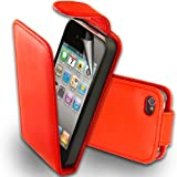 Supergets® Apple Iphone 4 4S Slim Red Top Flip PU Case / Cover, Screen Protector And Polishing Cloth