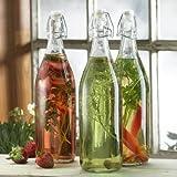 Glass Flip Top Beverage Bottle without Basket, Set of 3