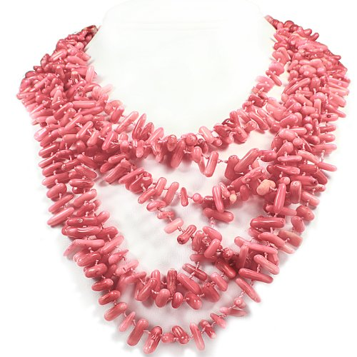 Women's Multi Layered Strand Necklace - Coral Beads Stones