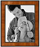 Malden International Designs Burl Wood Walnut Wooden Picture Frame with Black Border, 8 by 10-Inch
