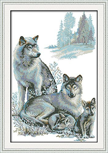 CaptainCrafts Hots Cross Stitch Kits Patterns Embroidery Kit - Wolf Family (Stamped) (Tamaño: STAMPED)