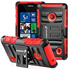 Fosmon STURDY Shock Absorbing Dual Layer Hybrid Holster Cover Kickstand Case for Nokia Lumia 521 (Red)