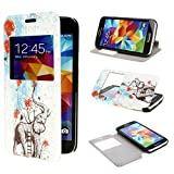 ivencase View Window Painting Art Elephants Style Design PU Leather Flip Case Cover for Samsung Galaxy S5 mini SM G800