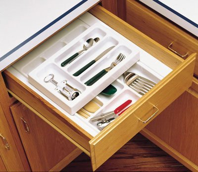 Rev-A-Shelf RSRT.14.3H 14.75 in. W x 3.13 in. H Double Cutlery Tray Insert Half Tray
