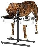 ProSelect Stainless Steel Adjustable Dog Diner Bowl, 2-Quart, Black