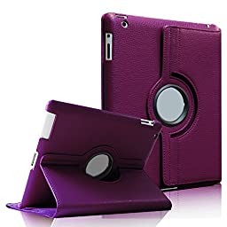 Fintie 360 Degree Rotating Stand Smart Case Cover for iPad 4 with Retina Display, iPad 3 & iPad 2 (Purple)
