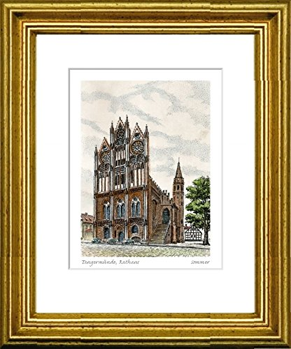 Hand-colored hand-crafted etching Tangermünde, Rathaus (Germany) by Sommer in a gold frame behind a passe-partout, graphics, art design, art print
