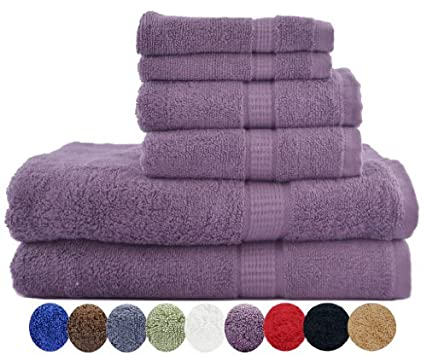 "6 Piece Luxury Combed Cotton Bath Towel Set - 2 Bath Towel 30"" x 56"", 2 Hand Towel 16"" x 30"" and 2 Washcloths 13"" x 13"" 600gm - Plum"