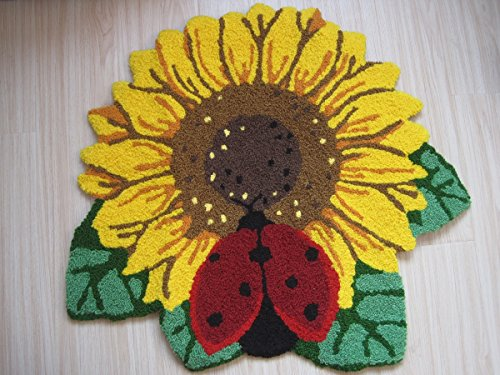 Hughapy® Modern Fashion Decorative Carpet Handmade Embroidery Anti-slip Floor Mats for Living Room Bedroom Sunflower and Ladybug Rugs