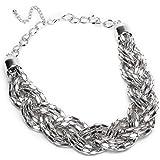 Fashion Schmuck aus silber Knit Knot Braid Metallhalsband kurz Halskette Anhaenger Statement