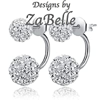 Shamballa Double Disco Hoop Ball Stud Earrings - Can be worn 2 ways - Like 2 sets