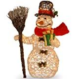 National Tree MZWR-27LO White Ratton Snowman Holding Gift and Broom with 50 Clear Outdoor Lights, 27-Inch