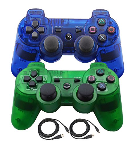 Bowink 2 Packs Wireless Bluetooth Controllers For PS3 Double Shock - Bundled with USB charge cord (Clear Blue+Clear Green) (Board Ps3 Controller compare prices)