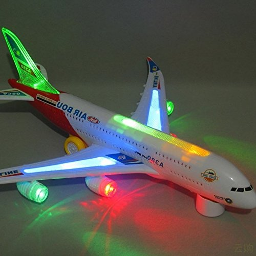 Eonkoo Bump And Go Electric Airplane Toy Airbus A380 Kids Action Aircraft Big Model Plane With Attractive 3D Colorful Lights And Sounds Changes Direction On Contact Best Gift For Kids Age 3 And Up (Remote Control Air Plain compare prices)