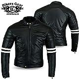 Bikers Gear UK chaqueta moto Cafe Racer en color negro envejecido y Blanco Cuero de Calidad con protecciones homologadas y extra�bles talla 2XL