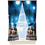 WWE Wrestling Arena Microfiber Window Panels; Set of 2 w/ Tiebacks