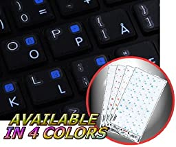 APPLE NORWEGIAN KEYBOARD STICKERS WITH WHITE LETTERING TRANSPARENT BACKGROUND FOR DESKTOP, LAPTOP AND NOTEBOOK