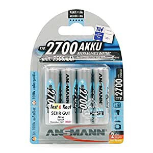 ANSMANN Rechargeable AA Batteries 2700mAh high-capacity high-rate rechargeable NiMH Batteries (4-Pack)