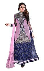 Arya Dress Maker Women's Net Unstitched Dress Material (Blue and Pink)