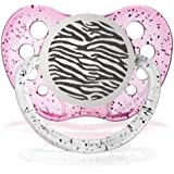 Personalized Pacifiers Zebra Print Glitter Pink Baby Pacifier Paci Binky