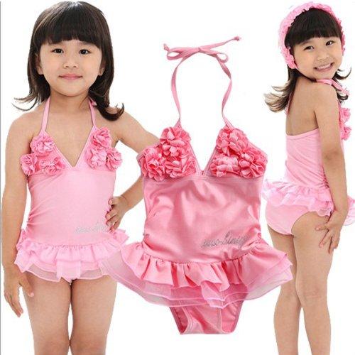 Fuloon bikini da bambina, colore rosa