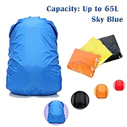 DidaDi® 40 to 65 L Large Nylon [Heavy Duty] [Waterproof] Backpack Protector Cover for Rain Dust. Best Outdoor Bag for Hiking Bike Cycling Boating Floating Camping Air Traveling Blue