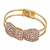 Caltrad Style Adjustable Armband Crystal Bowknot Bow Bangle Bracelet - Gold