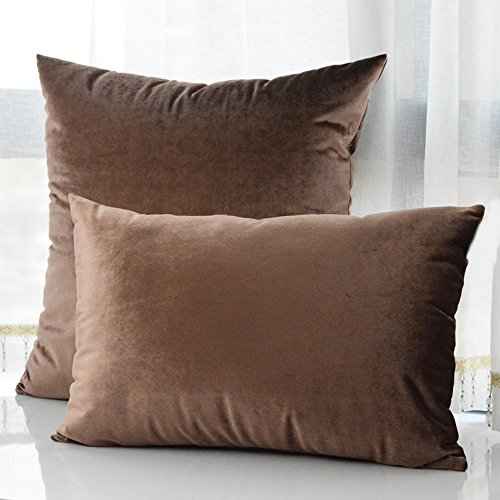 Square Throw Pillow Sizes : MochoHome Velvet Solid Square Throw Pillow or Pillow Cover, Include 10 Colors and 9 Sizes ...