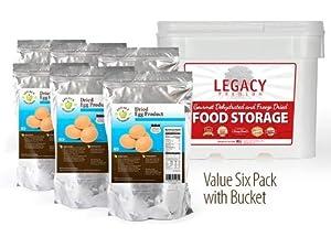 Legacy Essentials Long Term Powdered Whole Eggs - 25 Year Shelf Life Egg Powder for Emergency Food Storage Supply (Quantity 6 in Bucket)