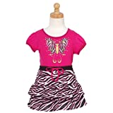 Fuchsia Zebra Butterfly 2pc Top Skort Toddler Girls Outfit 2T-12