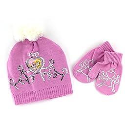 Disney Nickelodeon Toddler Girls Hat and Mittens Set (Pink Aurora & Beauty)