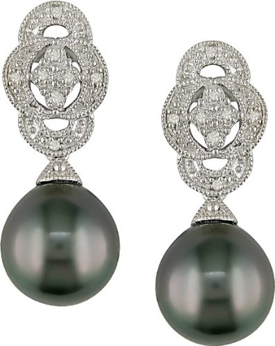 Silver Black Tahitian Pearl and Diamond Earrings