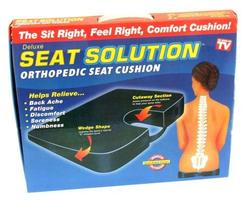 Cobalt® Orthopädisches Sitzkissen, schwarzes Kunstleder - Komfortables Keilkissen (nicht Regenbeständig)