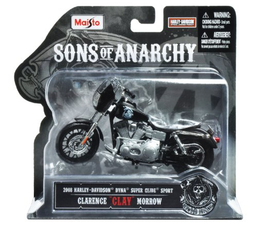 """Maisto 1:18 Scale Sons of Anarchy 2008 HD Dyna Superglide Sport Clarence """"Clay"""" Morrow Diecast Motorcycle"""