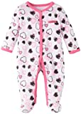 Calvin Klein Baby-girls Newborn Stretchie Coverall, Black/Pink, 0-3 Months