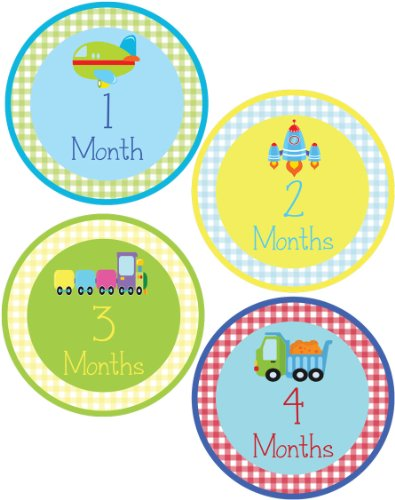 Baby Boy Transportation Theme Monthly Onesie Sticker - Waterproof and Durable - Includes 1-12 Month Stickers