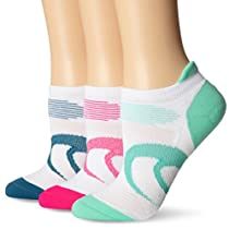 ASICS Women's Intensity Single Tab Socks (3-Pack), Large, Pink Glow/Mosaic Blue