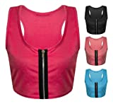 Womens Ladies Zip Front Sleeveless Plain Racer Back Bra Crop Vest Top UK 8 - 14