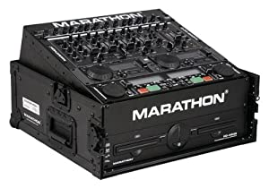 Marathon Flight Road Blk Series Case MA-M2Ublk Slant Mixer Combo Case 10U Slant Mixer Rack/2U Vertical Rack System With Full AC Door