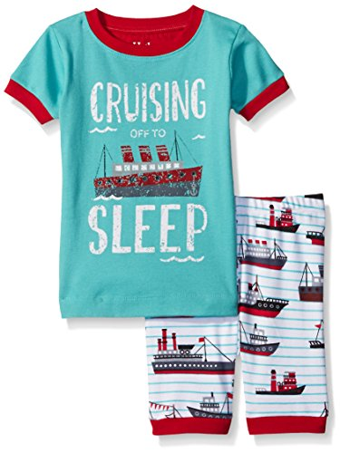 Hatley Little Boys Ocean Liner Short Pajama Set, Blue, 6